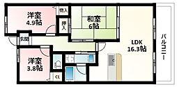北大阪急行電鉄 緑地公園駅 徒歩7分の賃貸マンション 1階3LDKの間取り