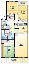 L-commuplus相模大野[4階]の間取り