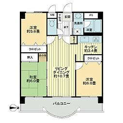 ライオンズマンション大分駅南[3階]の間取り