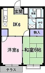 埼玉県鴻巣市大間4の賃貸アパートの間取り