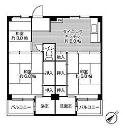 ビレッジハウス瀬田2号棟[302号室]の間取り