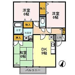ヴィルクレール A棟[2階]の間取り