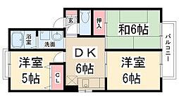 兵庫県伊丹市宮ノ前3丁目の賃貸アパートの間取り