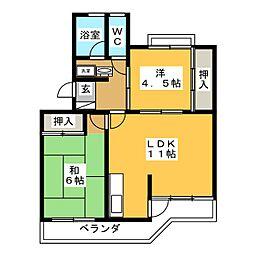 コーポ三浦[2階]の間取り