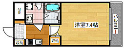 Osaka Metro四つ橋線 岸里駅 徒歩6分の賃貸マンション 2階1Kの間取り