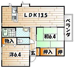 グローブ・たかのB棟[2階]の間取り