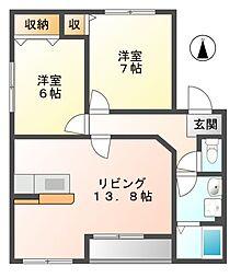 岐阜県可児市中恵土の賃貸アパートの間取り