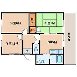 奈良県磯城郡田原本町の賃貸アパートの間取り