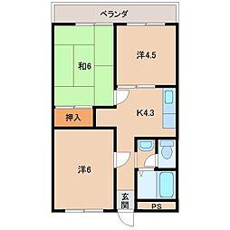 池西マンション[2階]の間取り