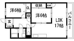 兵庫県伊丹市瑞ケ丘3丁目の賃貸マンションの間取り