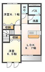 埼玉県本庄市早稲田の杜4丁目の賃貸アパートの間取り