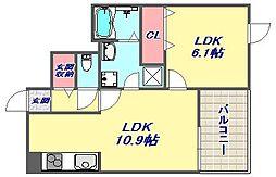 グラン マーリエ 3階1LDKの間取り