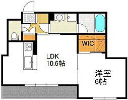 un lieu serein 2階1LDKの間取り