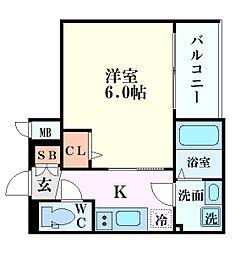エスリード新大阪グランゲートノウス 10階1Kの間取り