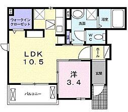 メゾン・ド・yu 2 1階1LDKの間取り
