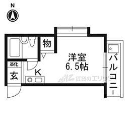 JR奈良線 東福寺駅 徒歩6分の賃貸マンション 1階ワンルームの間取り