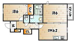 レジナスII[1階]の間取り