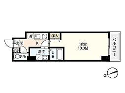 エイトバレー43平和大通り 3階1Kの間取り