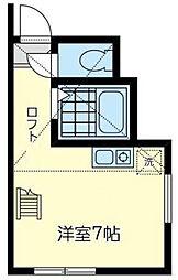 神奈川県横浜市神奈川区鳥越の賃貸アパートの間取り