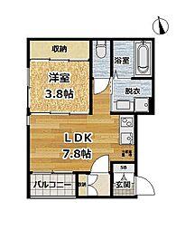 ルアーナ京都伏見[3階]の間取り