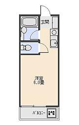 コーポ青木 1階ワンルームの間取り