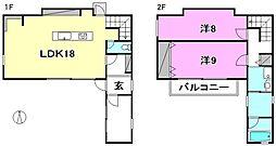 [一戸建] 愛媛県松山市上市2丁目 の賃貸【/】の間取り