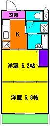 静岡県磐田市安久路2丁目の賃貸マンションの間取り