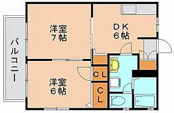 福岡県福岡市博多区東月隈5丁目の賃貸アパートの間取り