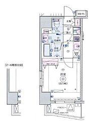 JR山手線 田町駅 徒歩9分の賃貸マンション 6階1Kの間取り