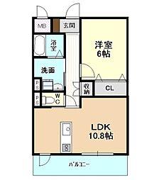 愛知県名古屋市千種区宮根台1丁目の賃貸マンション 2階1LDKの間取り