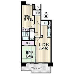 コスモ武蔵浦和プロシィード[408号室]の間取り