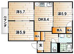 フレグランス常磐II[2階]の間取り