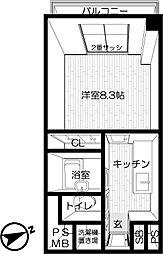 東京都世田谷区奥沢8丁目の賃貸マンションの間取り