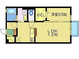 茨城県水戸市吉沢町の賃貸アパートの間取り