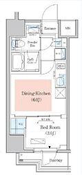 東京メトロ東西線 木場駅 徒歩4分の賃貸マンション 2階1DKの間取り