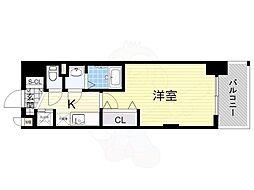Luxe新大阪α 2階1Kの間取り