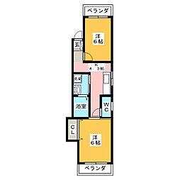 コーポ三和[1階]の間取り