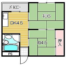 上田辺マンション[202号室]の間取り