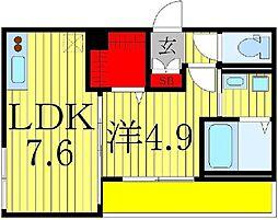 カーサ増尾駅前 1階1LDKの間取り