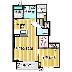 愛知県名古屋市中川区中野新町4丁目の賃貸アパートの間取り