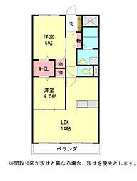 愛知県稲沢市小池2丁目の賃貸マンションの間取り