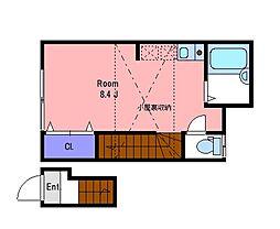 京王線 国領駅 徒歩12分の賃貸アパート 2階1Kの間取り