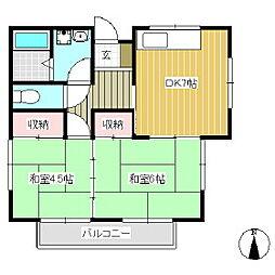 ワイエムコーポ[2階]の間取り