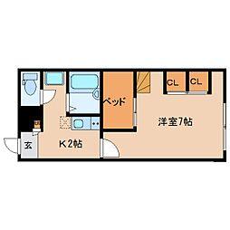 近鉄京都線 大和西大寺駅 バス14分 平城中山北口下車 徒歩8分の賃貸アパート 2階1Kの間取り