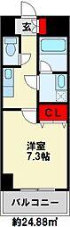 U.BASIC LEEF三萩野 2階1Kの間取り