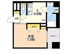 D-room gracious平尾 4階1DKの間取り