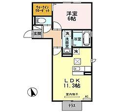 シャイン クレール A棟[1階]の間取り