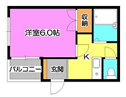 東京都清瀬市松山1丁目の賃貸アパートの間取り