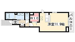 愛知県名古屋市守山区城南町の賃貸アパートの間取り