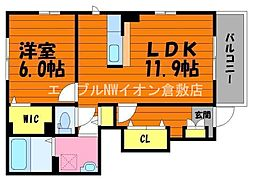JR山陽本線 庭瀬駅 徒歩36分の賃貸アパート 1階1LDKの間取り
